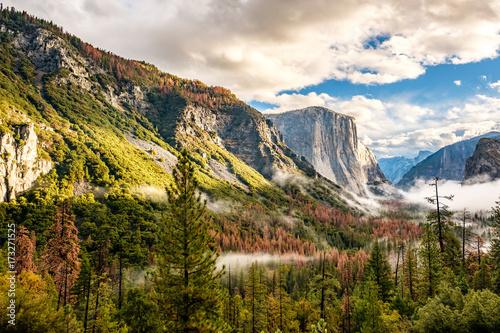 Yosemite Valley at cloudy autumn morning