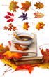 still life with autumn leaves, books and tea