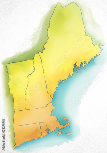 Watercolor Map Of New England Usa Buy Photos Ap Images Detailview