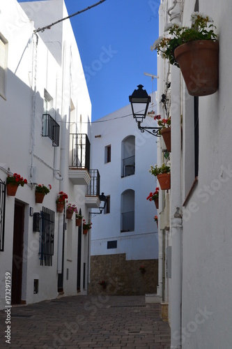 Deurstickers Smal steegje Beautiful little street in Andalucia, Spain.