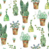 Watercolor seamless pattern of green plants in pots - 173307976