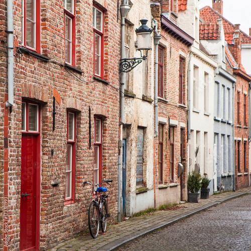 Staande foto Stockholm The street in old town of Bruges, Belgium.