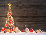 Wooden Xmas Tree With Rustic Baubles - 173332146