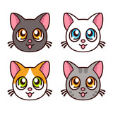 Cute anime cats set - 173334185