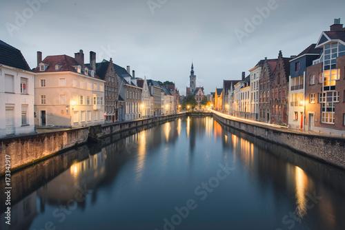 Spoed canvasdoek 2cm dik Brugge Canal in Bruges, Belgium