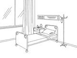 Hospital ward graphic black white interior sketch illustration vector - 173389144
