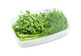 Freshly harvested dill and parsley in white container - 173391934