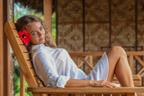 Woman relaxing at resort - 173398761