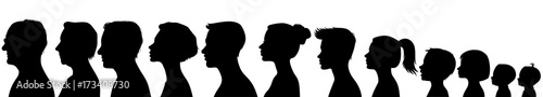Head silhouettes of people. Black and white - 173408730