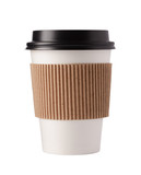 White paper coffee cup with black top. Isolated on white background with clipping path. - 173420126