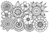 Flower pattern in black and white for adult coloring book. Can use for print , coloring and card design