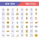 Set Vector Flat Line Icons New York - 173422188