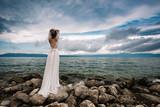 Beautiful bride standing outdoor