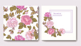 Set of seamless patterns with rose flowers and greeting birthday
