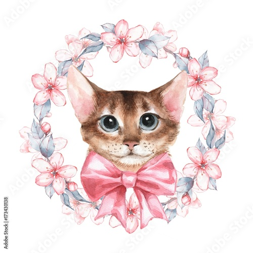 Cat. Watercolor illustration. Wreath with flowers - 173430138