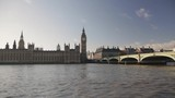Big Ben Tower and Westminster Bridge at Thames in London - 173431598