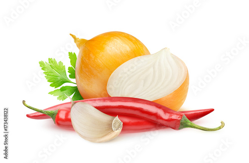 Foto op Aluminium Hot chili peppers Isolated spices. Fresh onions, red chili peppers and garlic (hot sauce ingredients) isolated on white background with clipping path