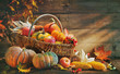 Thanksgiving background with pumpkins
