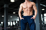 Fitness concept. Muscular and sexy torso of young man having perfect six pack abs, bicep and chest. Bodybuilder with athletic body. - 173440913