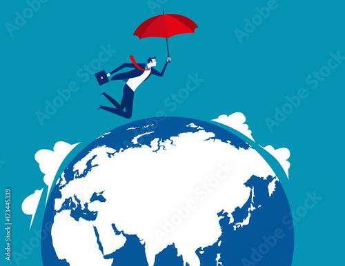 Fotobehang Wereldkaarten Businessman skydiving. Concept business vector illustration.
