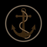 Old wooden anchor with rope. Black background. Vector