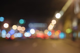 bokeh blur of traffic lights in city at night