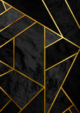 Modern and stylish abstract design poster with golden lines and black geometric pattern. - 173453539