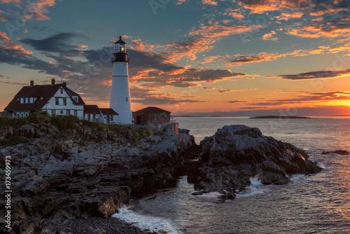 Fotobehang Vuurtoren Portland Head Lighthouse in Cape Elizabeth, Maine, USA.