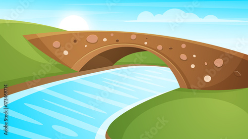 Papiers peints Piscine Cartoon landscape illustration. Sun. cloud, mountain hill vector EPS 10