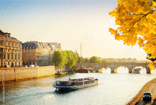 Poster Pont Neuf and Seine river with tour boat at sunny autumn sunset, Paris, France