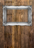 Old Silver Picture Frame on wooden background - 173476568