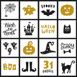 Halloween Templates, Badges Set. Handwritten Ink Lettering and Hand Drawn Cartoon Doodles - 173479798