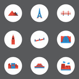 Flat Icons Bridge, Beijing, Japan And Other Vector Elements. Set Of Landmarks Flat Icons Symbols Also Includes Golden, Square, China Objects. - 173480187