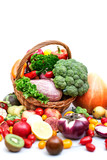 Vegetables and fruit in a basket isolated on white background. - 173482198