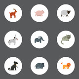 Flat Icons Swine, Hound, Moose And Other Vector Elements. Set Of Animal Flat Icons Symbols Also Includes Hippo, Horse, Mutton Objects.