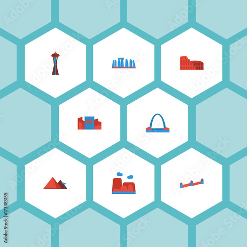 Staande foto Lichtblauw Flat Icons Seattle, Prehistoric Britain, Great Pyramid And Other Vector Elements. Set Of Monument Flat Icons Symbols Also Includes Great, Gateway, Wall Objects.
