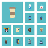 Flat Icons Cup, Espresso Dispenser, Plastic Cup And Other Vector Elements. Set Of Beverage Flat Icons Symbols Also Includes Saucer, Pot, French Objects. - 173484192
