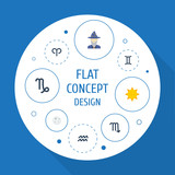 Flat Icons Twins, Water Bearer, Lunar And Other Vector Elements. Set Of Galaxy Flat Icons Symbols Also Includes Lunar, Solar, Horoscope Objects.