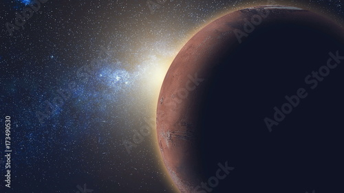 Foto op Canvas Nasa Sunrise view from space: Mars Red Planet in sun beams, black universe of stars in the background. High detail 3D animation. Abstract scientific background. Elements of this image furnished by NASA