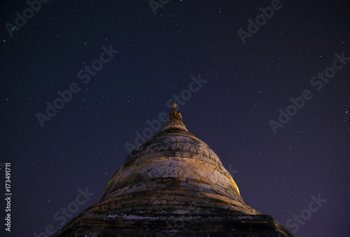 The old pagoda in Bagan on the background of star at night scene in Bagan, Myanmar Poster