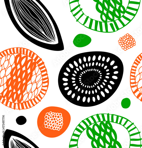 Decorative pattern in scandinavian style. Abstract background with colorful shapes © silmen
