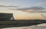 Beautiful dawn landscape of Seven Sisters cliffs landmark on English coast - 173499979