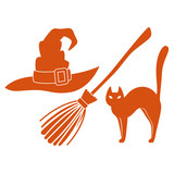 Witch hat and broom and cat, colorful scary Halloween illustration. Vector