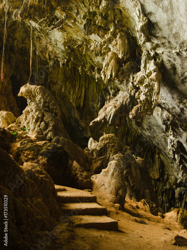 Man-made steps and natural formations in Yateak Pyan Cave, Hpa-An, Myanmar Poster