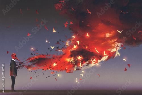 man in red mask standing with fire flame and smoke coming out from his chest, digital art style, illustration painting