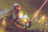 sci-fi character of astro-knight in futuristic armour holding magic sword, digital art style, illustration painting - 173510936