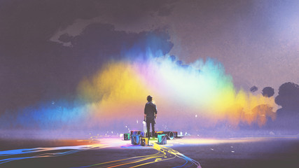 man with brush and paint buckets stands in front of colorful cloud, digital art style, illustration painting © grandfailure