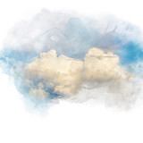 Watercolor illustration of sky with cloud (retouch). - 173513954