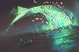 fantasy scenery of man on boat looking at the jumping glowing green whale in the sea, digital art style, illustration painting - 173514175