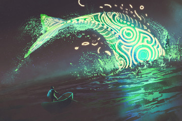 fantasy scenery of man on boat looking at the jumping glowing green whale in the sea, digital art style, illustration painting © grandfailure